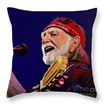 Willie Nelson Throw Pillow by Paul Meijering