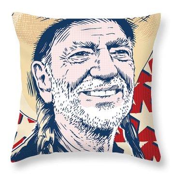 Willie Nelson Pop Art Throw Pillow by Jim Zahniser