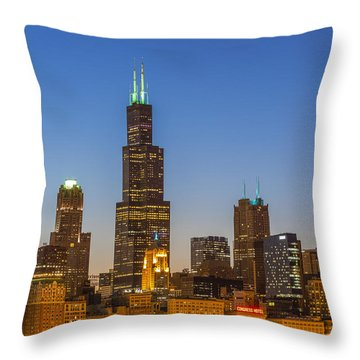 Willis Tower Throw Pillow by Sebastian Musial