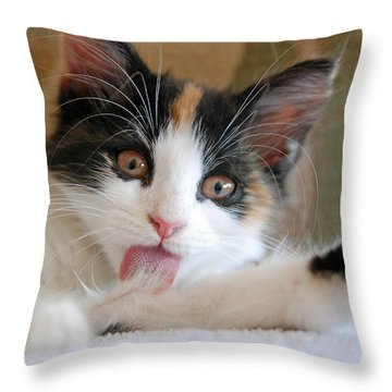 Willow Bathing Throw Pillow by Kenny Francis