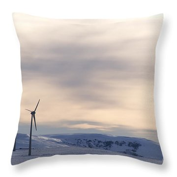 Wind Turbines In Winter Throw Pillow by Bernard Jaubert