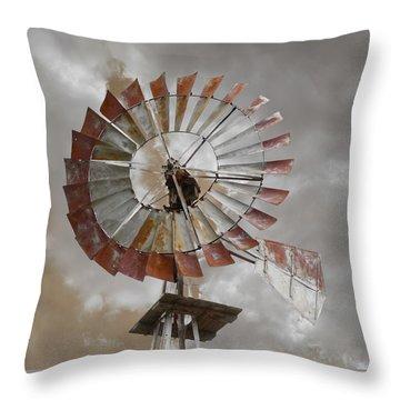 Windmill Throw Pillow by Steven  Michael