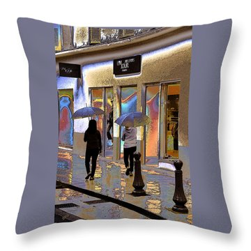 Window Shopping In The Rain Throw Pillow by Ben and Raisa Gertsberg