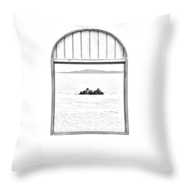 Window View Of Desert Island Puerto Rico Prints Black And White Line Art Throw Pillow by Shawn O'Brien