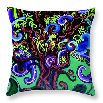 Windy Blue Green Tree Throw Pillow by Genevieve Esson