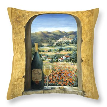 Wine And Poppies Throw Pillow by Marilyn Dunlap