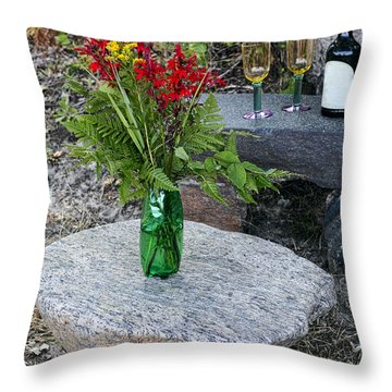 Wine And Red Flowers On The Rocks Throw Pillow by Les Palenik