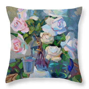 Wine And Roses Throw Pillow by Diane McClary