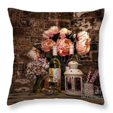 Wine And Roses Throw Pillow by Kaye Menner