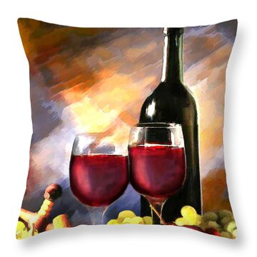 Wine Before And After Throw Pillow by Elaine Plesser