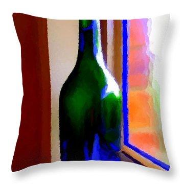 Wine Bottle Throw Pillow by Chris Butler