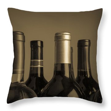 Wine Bottles Throw Pillow by Diane Diederich