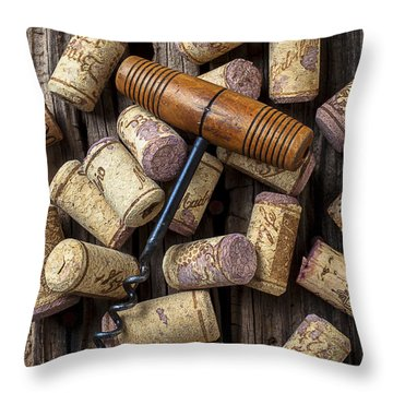 Wine Corks Celebration Throw Pillow by Garry Gay