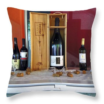 Wine Display Throw Pillow by Sally Weigand