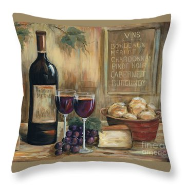 Wine For Two Throw Pillow by Marilyn Dunlap