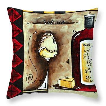 Wine Tasting Original Madart Painting Throw Pillow by Megan Duncanson