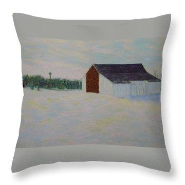 Winter At Mcphersons Barn Gettysburg Throw Pillow by Joann Renner