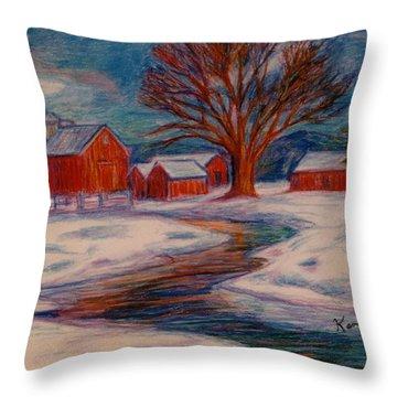 Winter Barn Scene Throw Pillow by Kendall Kessler
