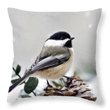 Winter Chickadee Throw Pillow by Christina Rollo