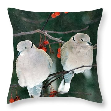Winter Doves Throw Pillow by Betty LaRue