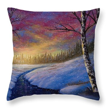 Winter Flurries Throw Pillow by C Steele
