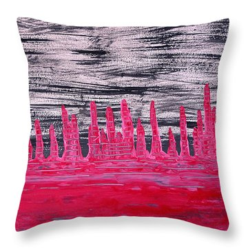 Winter Hoodoos Original Painting Throw Pillow by Sol Luckman