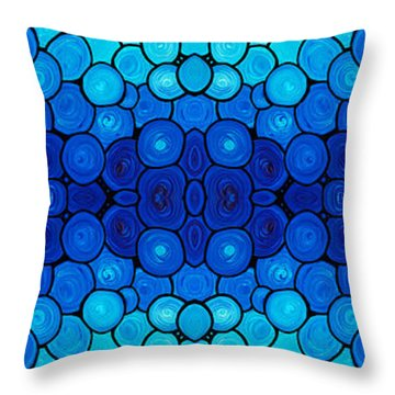 Winter Lights - Blue Mosaic Art By Sharon Cummings Throw Pillow by Sharon Cummings