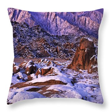 Winter Morning Alabama Hills And Eastern Sierras Throw Pillow by Dave Welling