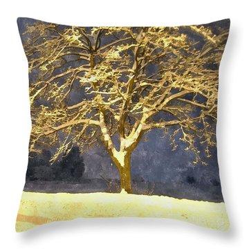 Winter Night - Snowy Tree Throw Pillow by Jutta Wolfram