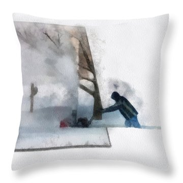 Winter Snow Blower Photo Art Throw Pillow by Thomas Woolworth