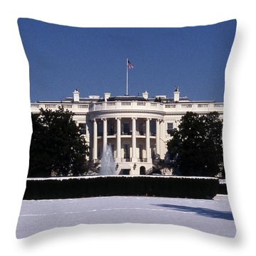 Winter White House  Throw Pillow by Skip Willits