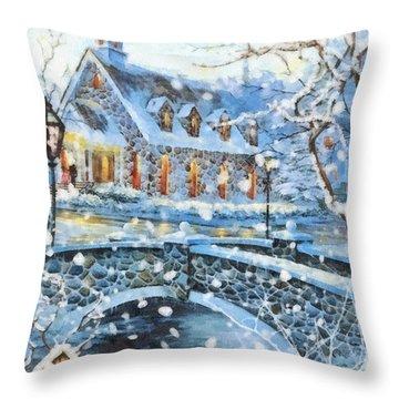 Winter Wonderland Throw Pillow by Mo T