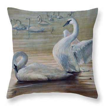 Wintering Trumpeters Throw Pillow by Rob Dreyer AFC