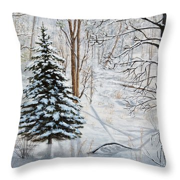 Winter's Peace Throw Pillow by Vicky Path