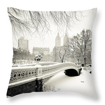 Winter's Touch - Bow Bridge - Central Park - New York City Throw Pillow by Vivienne Gucwa
