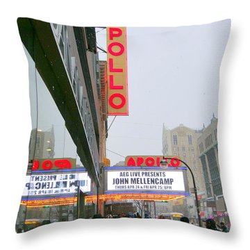 Wintry Day At The Apollo Throw Pillow by Ed Weidman