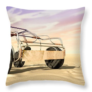 Wire Toy Car In The Desert Perspective Throw Pillow by Allan Swart
