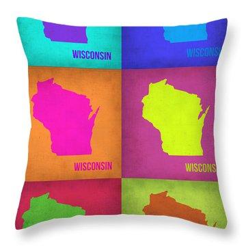 Wisconsin Pop Art Map 2 Throw Pillow by Naxart Studio
