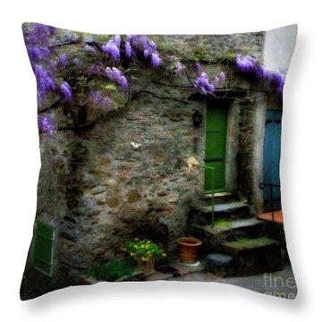 Wisteria On Stone House Throw Pillow by Lainie Wrightson