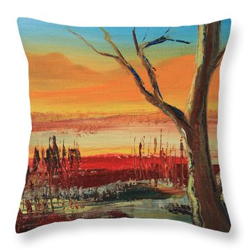 Withered Tree Throw Pillow by Remegio Onia