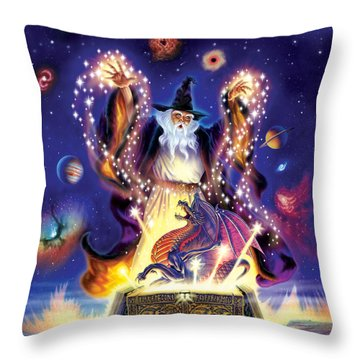 Wizard Dragon Spell Throw Pillow by Andrew Farley