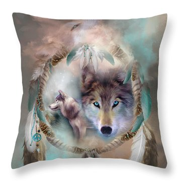 Wolf - Dreams Of Peace Throw Pillow by Carol Cavalaris