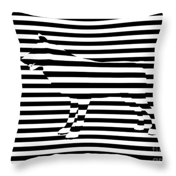 Wolf Optical Illusion Throw Pillow by Pixel  Chimp