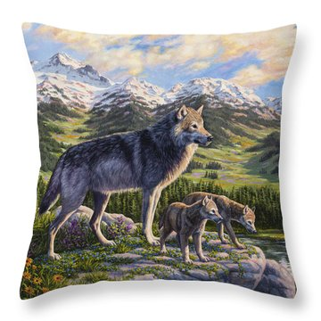 Wolf Painting - Passing It On Throw Pillow by Crista Forest