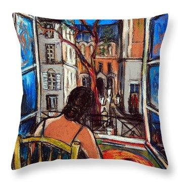 Woman At Window Throw Pillow by Mona Edulesco