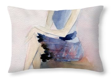 Woman In Plaid Skirt And Big Sunglasses Fashion Illustration Art Print Throw Pillow by Beverly Brown Prints