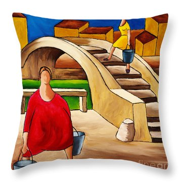 Woman On Bridge Throw Pillow by William Cain