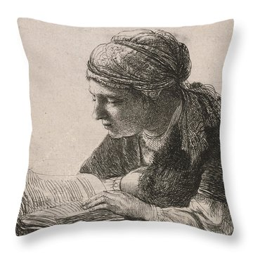 Woman Reading Throw Pillow by Rembrandt