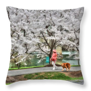 Woman Walking Dog  Rail To Trail Throw Pillow by Dan Friend