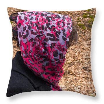 Woman With Headscarf In The Forest - Quirky And Surreal Throw Pillow by Matthias Hauser
